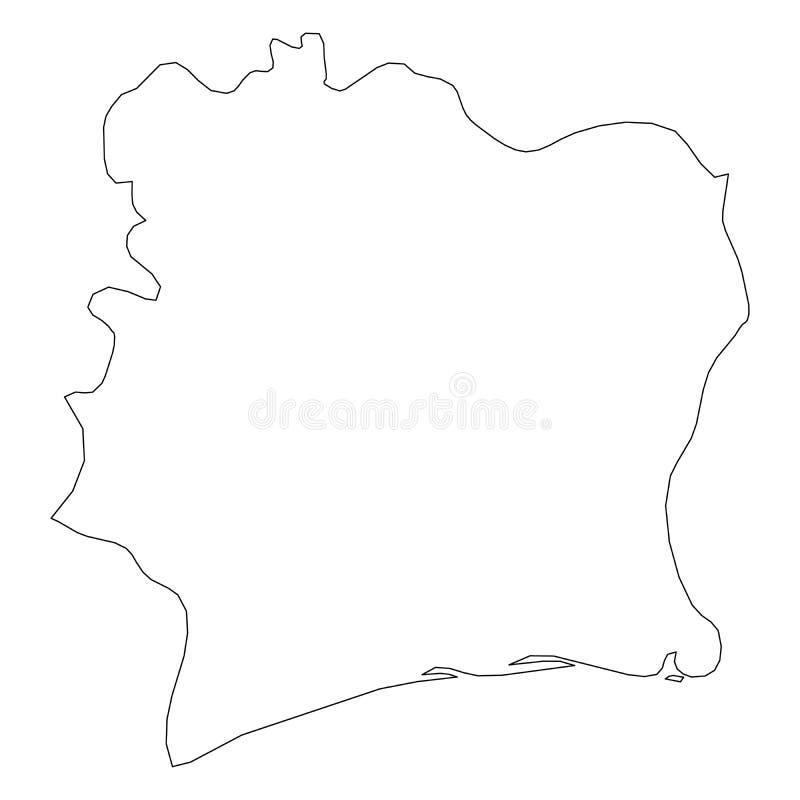 彻特d Ivoire -国家区域坚实黑概述边界地图  简单的平的传染媒介例证 库存例证