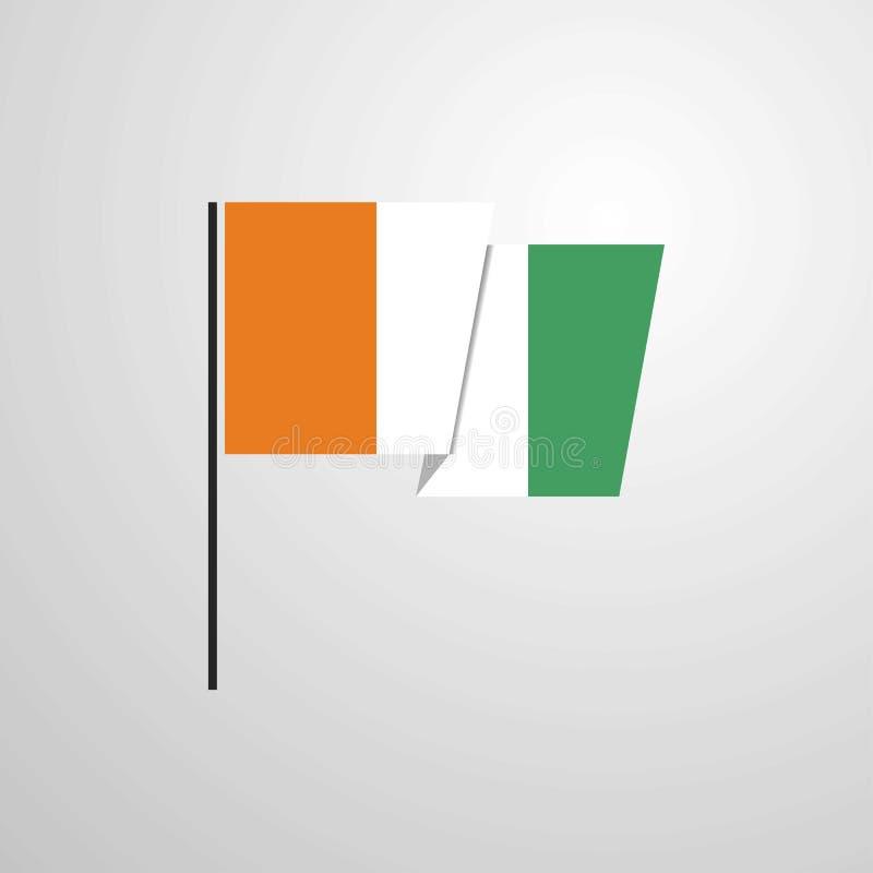 彻特d Ivoire/象牙海岸挥动的旗子设计传染媒介背景 皇族释放例证