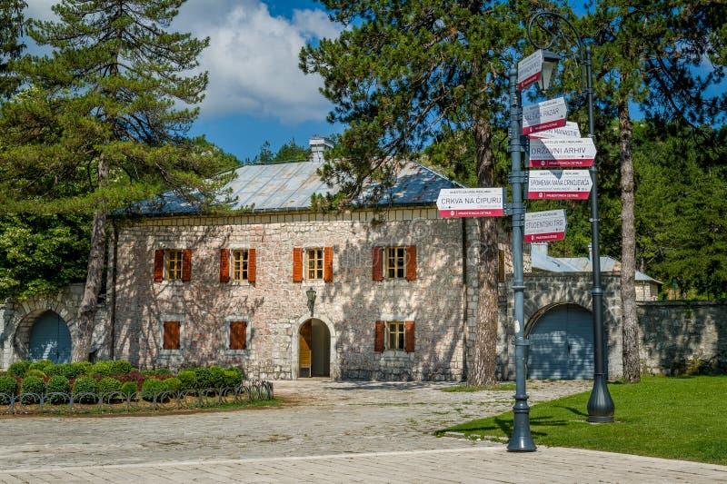 彼得二世宫殿  采蒂涅旅游中心 免版税库存图片