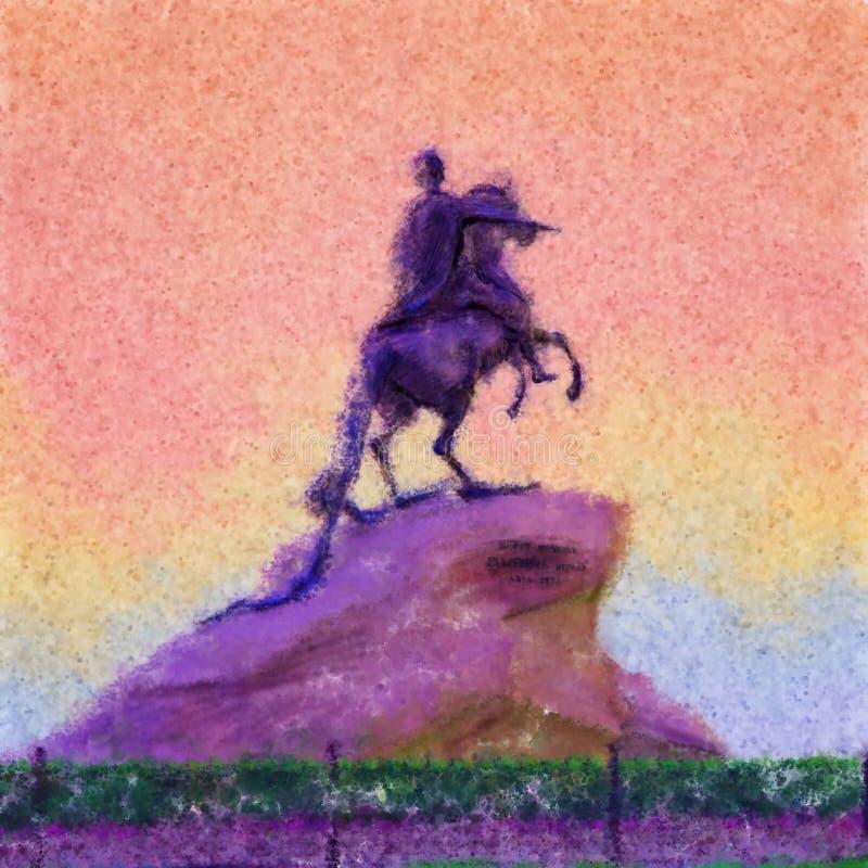 圣似色一视频_彼得的纪念碑第一圣彼德堡,俄罗斯 古铜色御马者的装饰例证