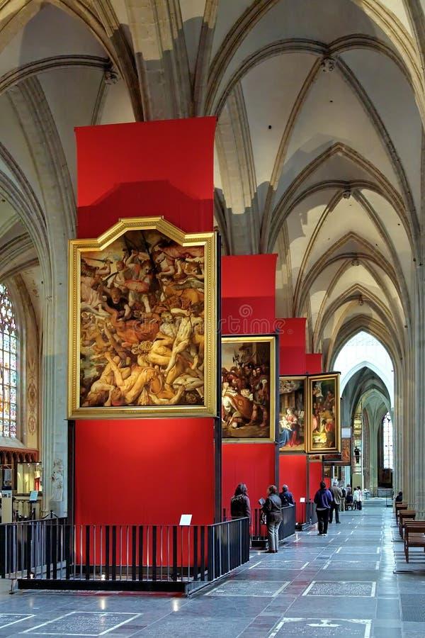 彼得・保罗・鲁本斯绘画在安特卫普大教堂里 图库摄影