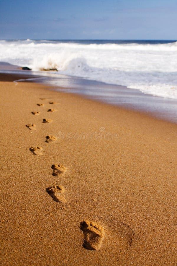 往水的脚印 库存照片