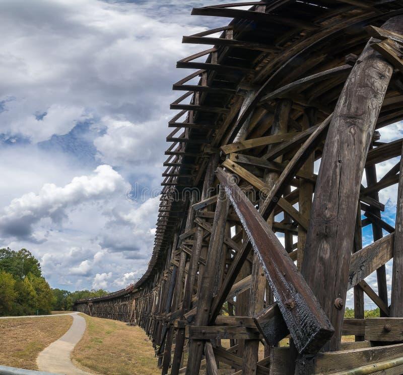 往河的一个高架铁路轨道标题 免版税库存照片