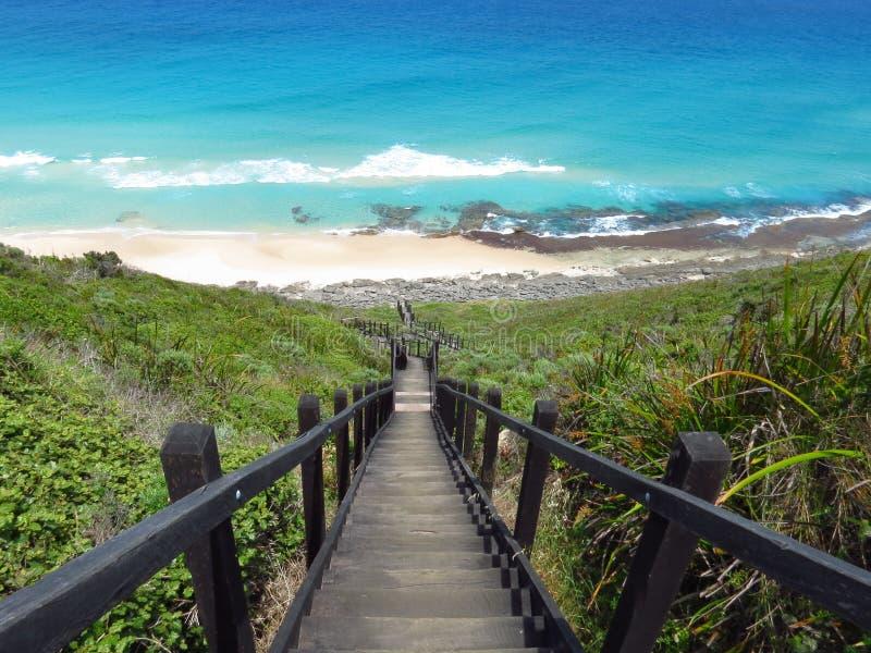 往蓝色海洋的台阶 库存照片