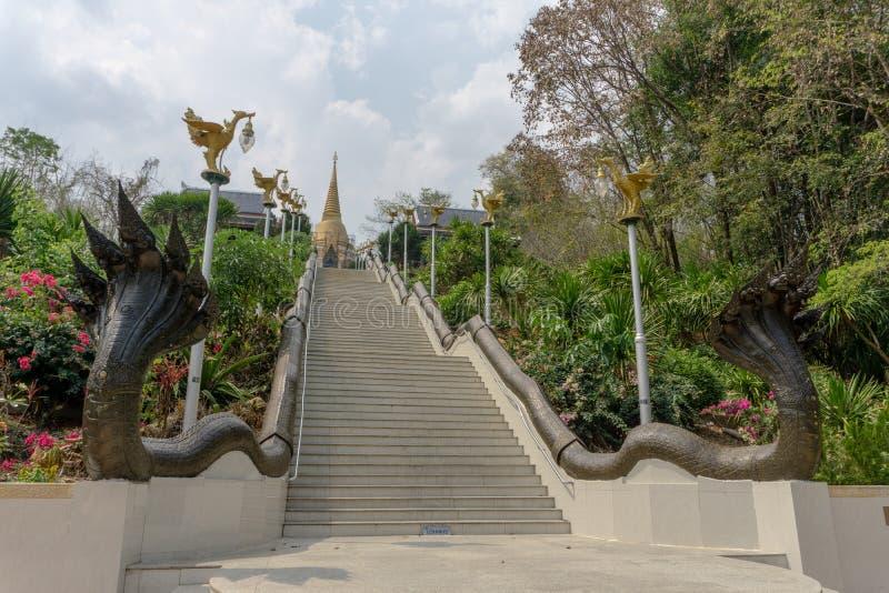 往金黄佛教塔的台阶有泰国文学动物形象的  图库摄影