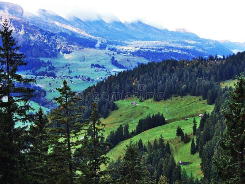 往高山峰顶的全景在Churfirsten山脉 免版税图库摄影
