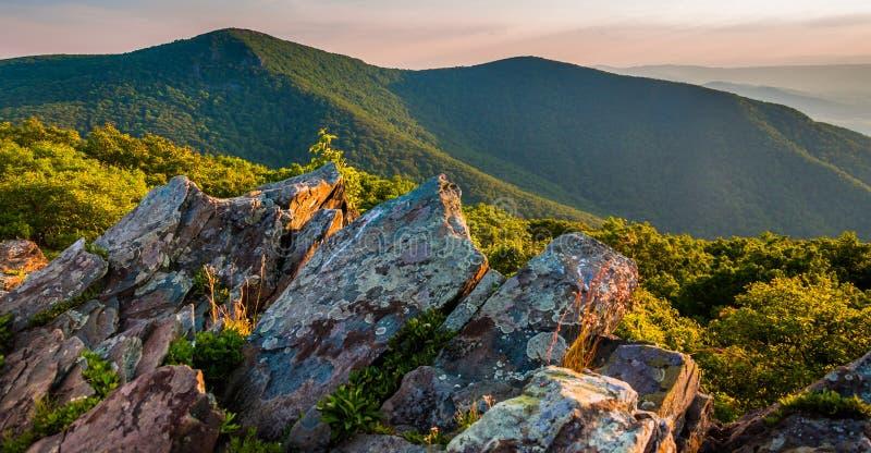 往Hawksbill山顶的晚上视图从贝蒂的岩石,在Shenandoah国家公园 库存照片