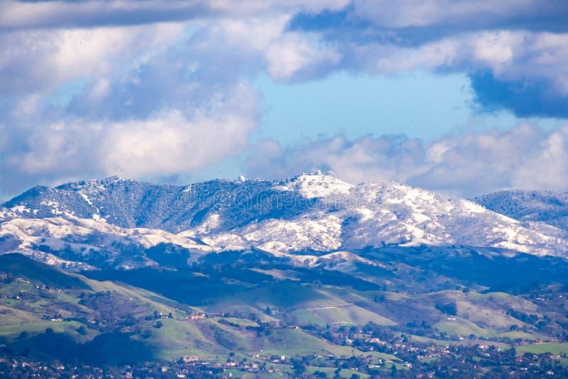 往Mt哈密尔顿和利克天文台大厦的看法在一个晴朗的冬日;在前景的青山和积雪 库存照片