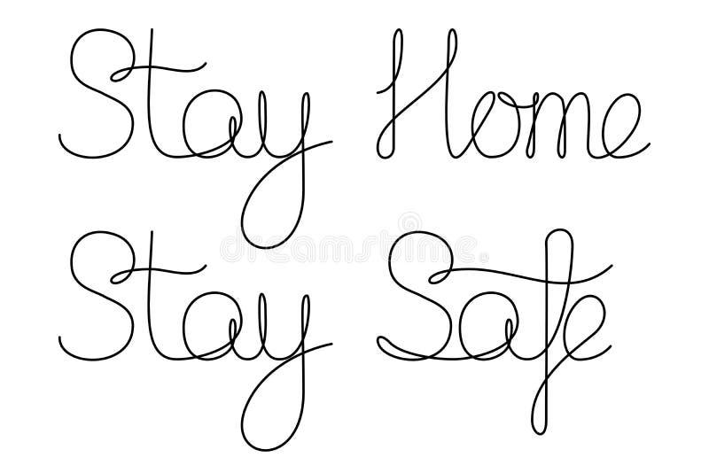 待在家中保持安全字母隔离隔离隔离 皇族释放例证
