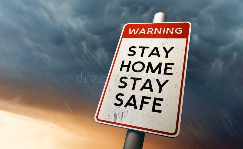 待在家安全警告标志 免版税库存图片