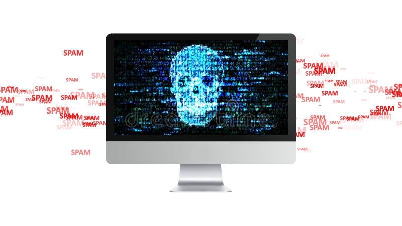 很多垃圾短信 很多垃圾短信由计算机攻击 皇族释放例证