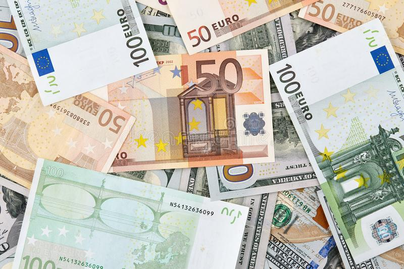 很多欧洲和美国美元钞票 背景 库存照片