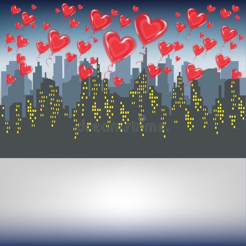 很多红色胶凝体球飞行反对一个大城市的剪影 明亮的早晨天空 庆祝情人节传染媒介的恋人 向量例证