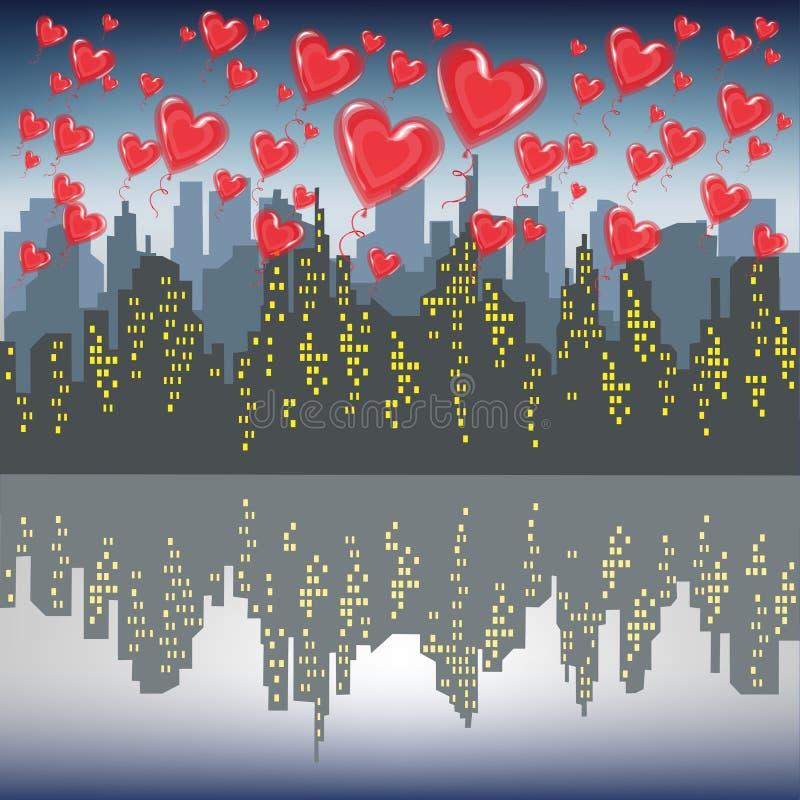 很多红色胶凝体球飞行反对一个大城市的剪影 明亮的早晨天空 庆祝情人节传染媒介的恋人 库存例证