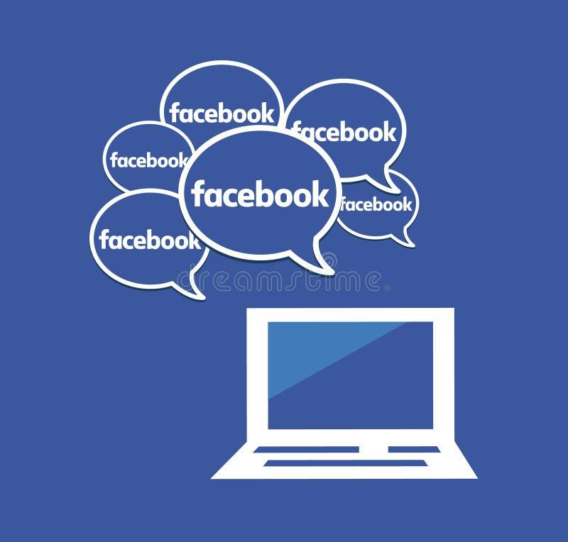 很多Facebook讲话泡影 社会媒体和网络连接 库存例证