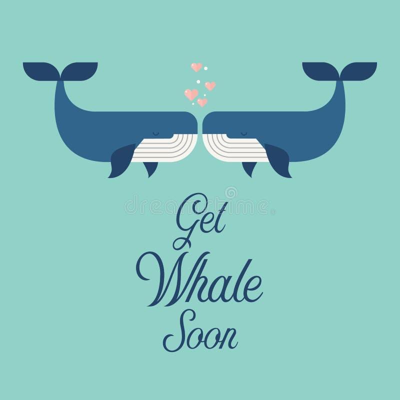 很快得到与逗人喜爱的鲸鱼的鲸鱼词 向量例证
