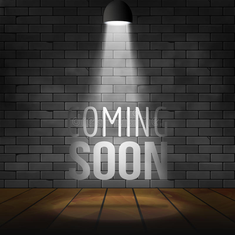 很快来消息阐明与轻的聚光灯放映机 砖墙和阶段现实传染媒介 向量例证