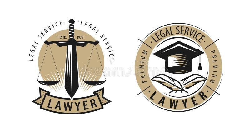 律师、律师事务所商标或者标签 法律帮助,正义标志 向量 向量例证
