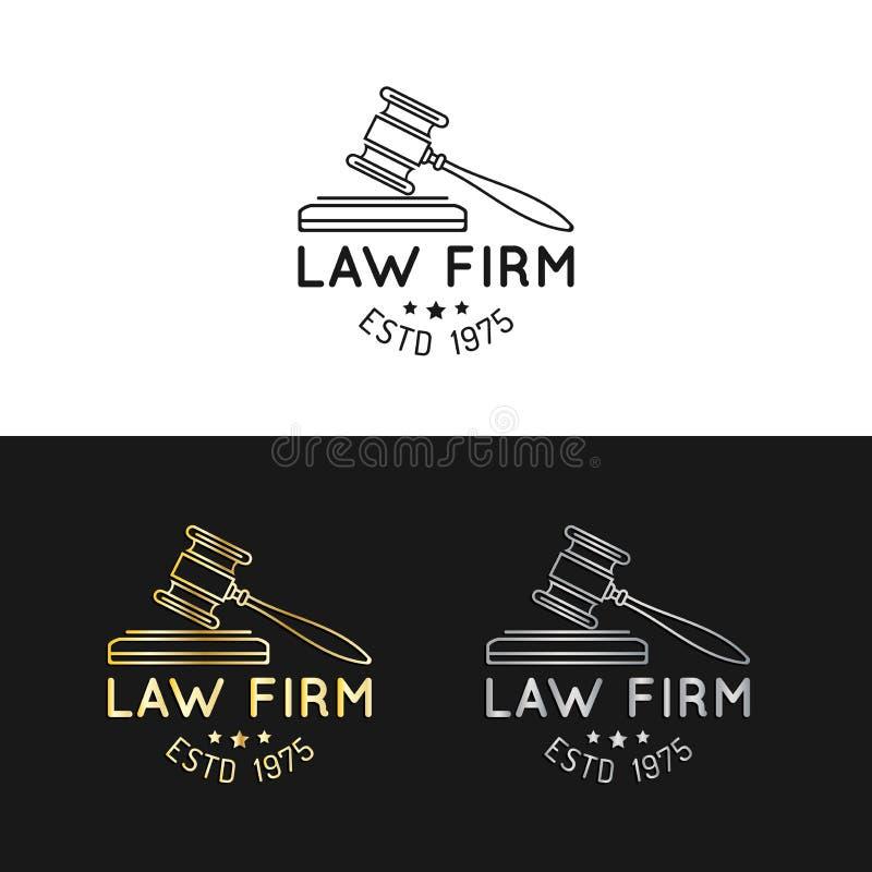 律师事务所商标设置与惊堂木例证 导航葡萄酒律师,提倡者标签,法律上的企业徽章收藏 向量例证