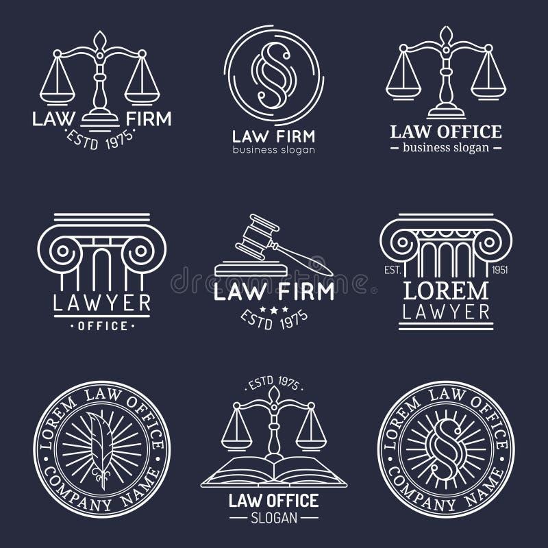 律师事务所商标设置了与正义,惊堂木等例证标度  传染媒介葡萄酒律师,提倡者标记汇集 向量例证