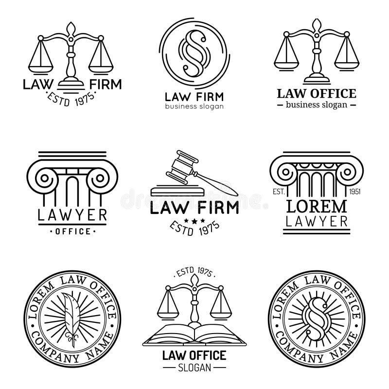 律师事务所商标设置了与正义,惊堂木等例证标度  传染媒介葡萄酒律师,提倡者标记汇集 皇族释放例证