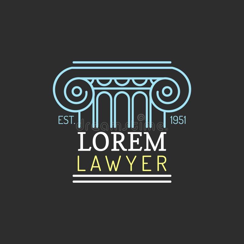 律师事务所商标 导航葡萄酒律师,提倡者标签,法律上的牢固的徽章 行动,原则,法律象设计 库存例证