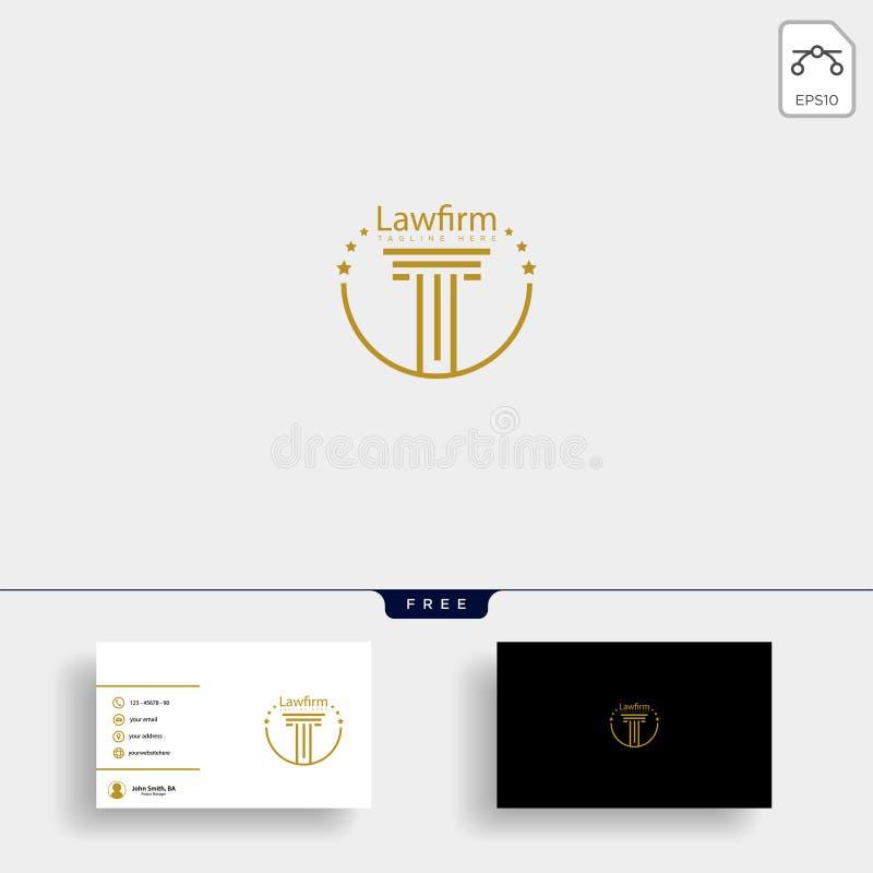 律师事务所,与名片的提倡者创造性的商标模板 向量例证