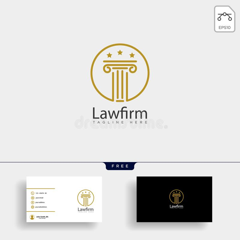 律师事务所,与名片的提倡者创造性的商标模板 皇族释放例证