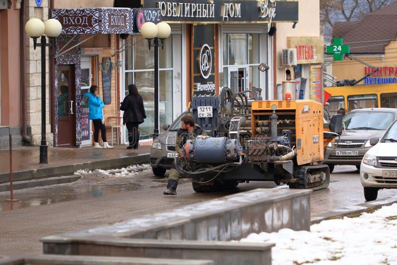 徐工集团水平的定向钻孔船具徐工集团XZ180在Pyatigorsk,俄罗斯 免版税库存照片
