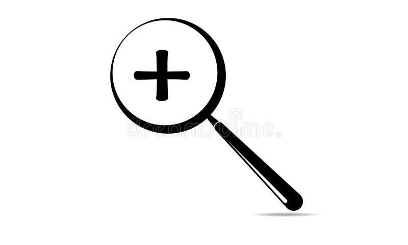 徒升标志和放大镜-加上迅速移动的标志象 向量例证