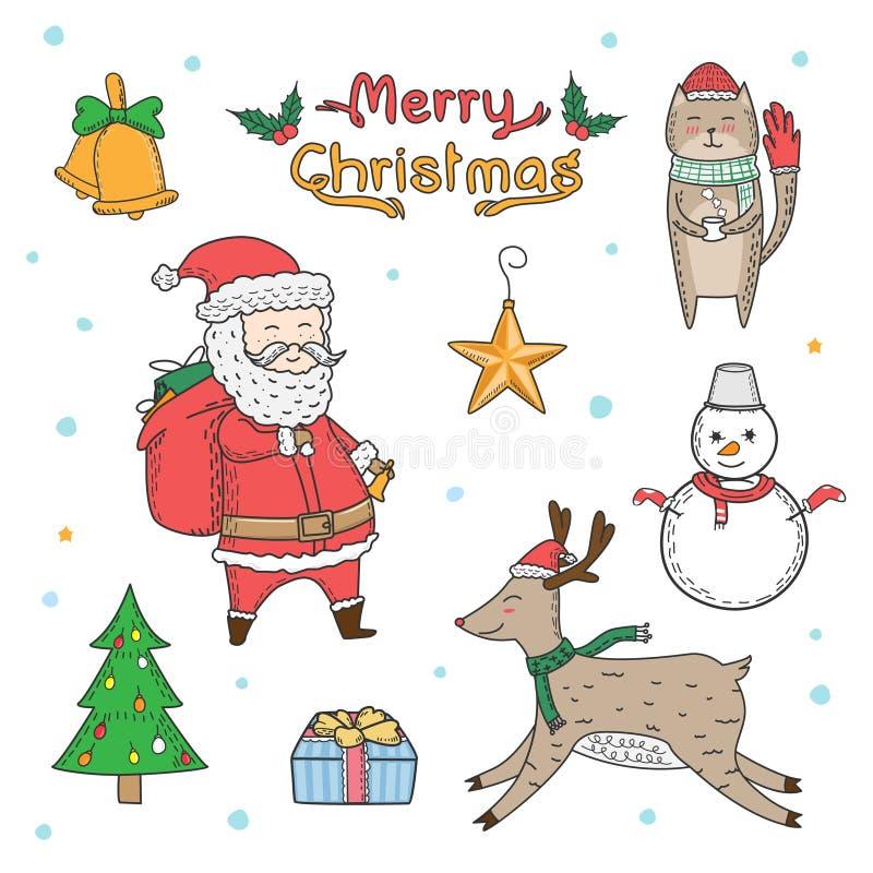 徒手画圣诞节元素被画的动画片 乱画样式 向量例证