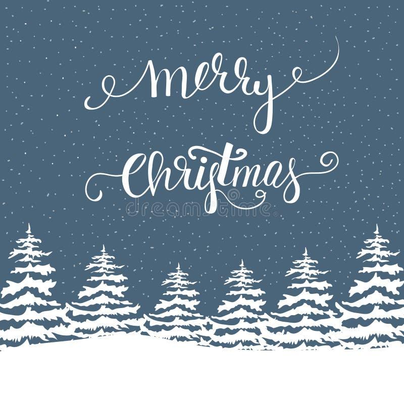 徒手画的在森林降雪在上写字的圣诞快乐传染媒介例证白色冷杉木 藏青色背景 新年度 库存例证