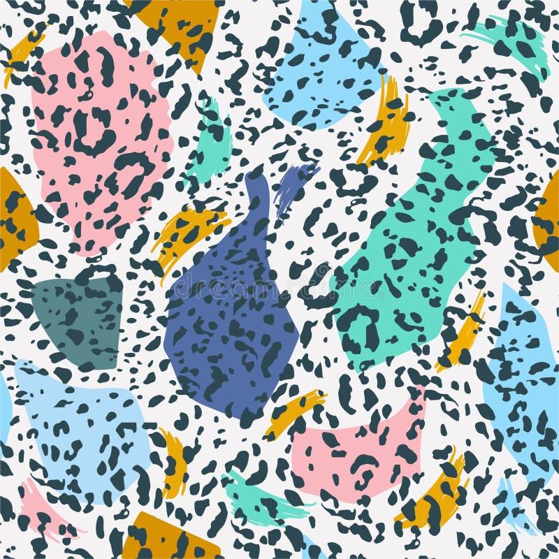 徒手画的无缝的样式时髦五颜六色的甜柔和的淡色彩与动物豹子印刷品的 时髦手拉 现代样式摘要 皇族释放例证