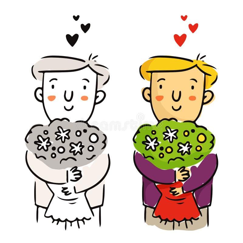 徒手画的动画片传染媒介字符,爱上花的年轻人 库存例证