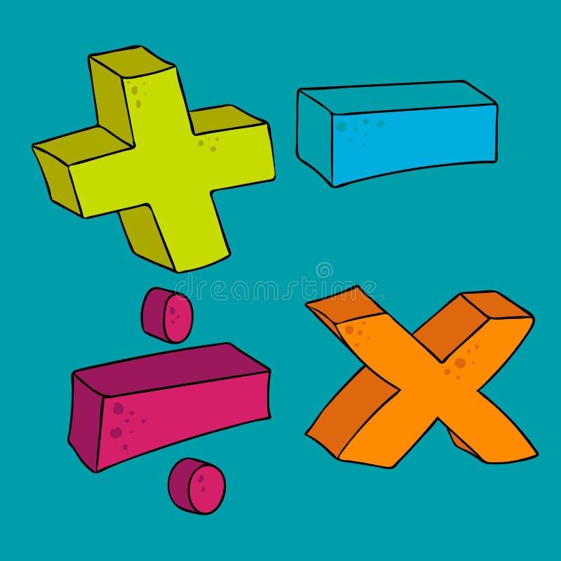 徒手画的被画的动画片算术标志 库存例证