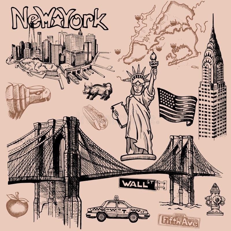 徒手画纽约的乱画 向量例证