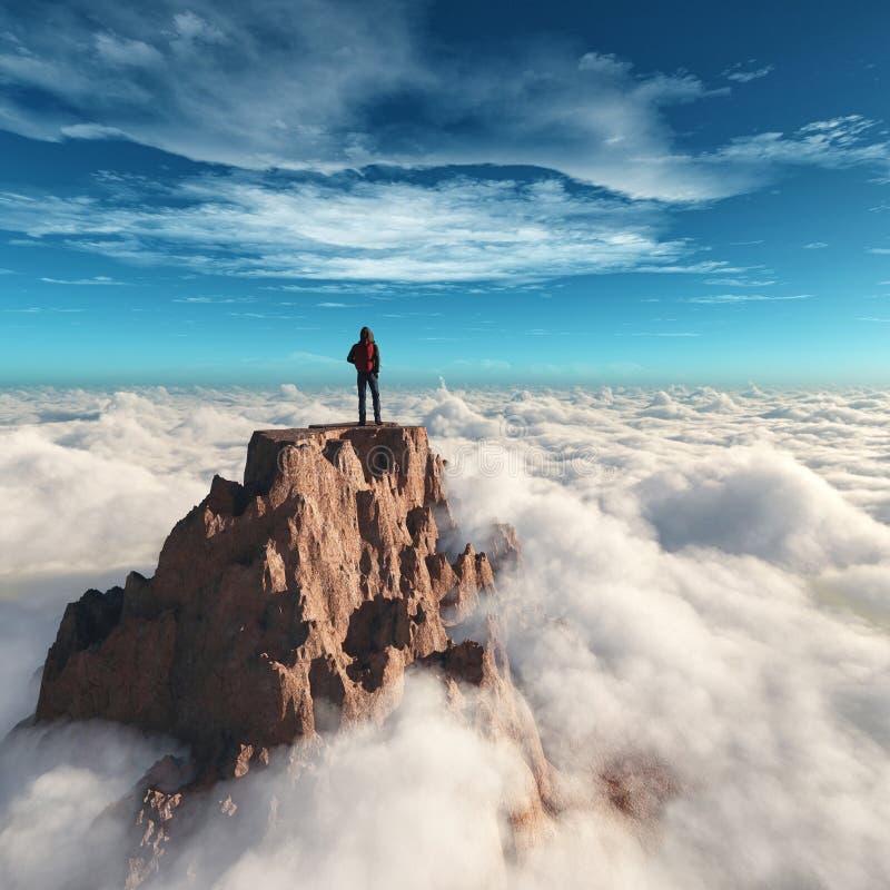 徒步旅行者人在山顶部 向量例证
