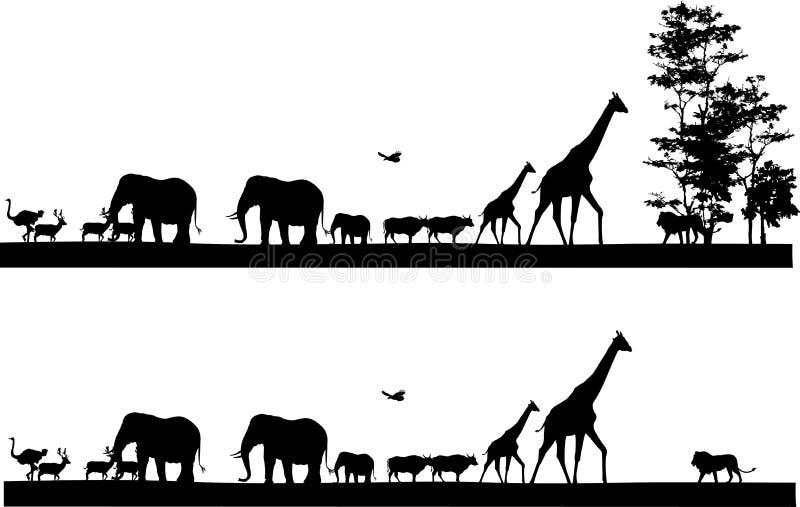 徒步旅行队动物剪影 向量例证