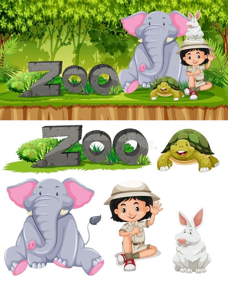 徒步旅行队女孩和动物园动物 皇族释放例证