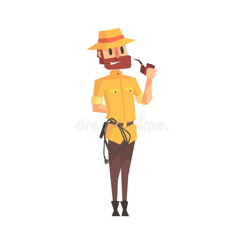 徒步旅行队成套装备和帽子烟斗例证的冒险家考古学家从滑稽的考古学科学家系列 皇族释放例证
