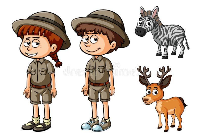 徒步旅行队成套装备和野生动物的两个人 皇族释放例证