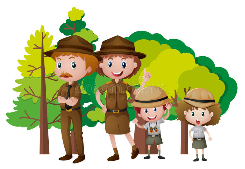 徒步旅行队成套装备的人们在森林里 库存例证