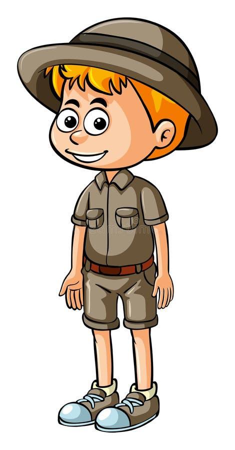 徒步旅行队成套装备的小男孩 皇族释放例证