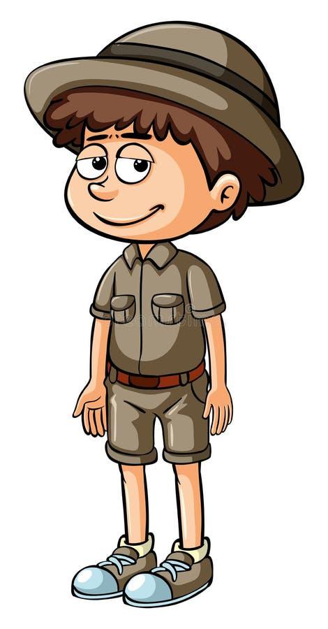 徒步旅行队成套装备的男孩 向量例证