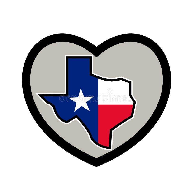 得克萨斯在心脏象里面的旗子地图 库存例证