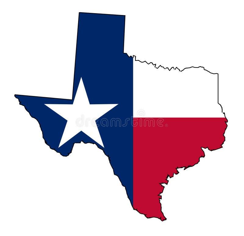 得克萨斯地图概述和旗子 向量例证