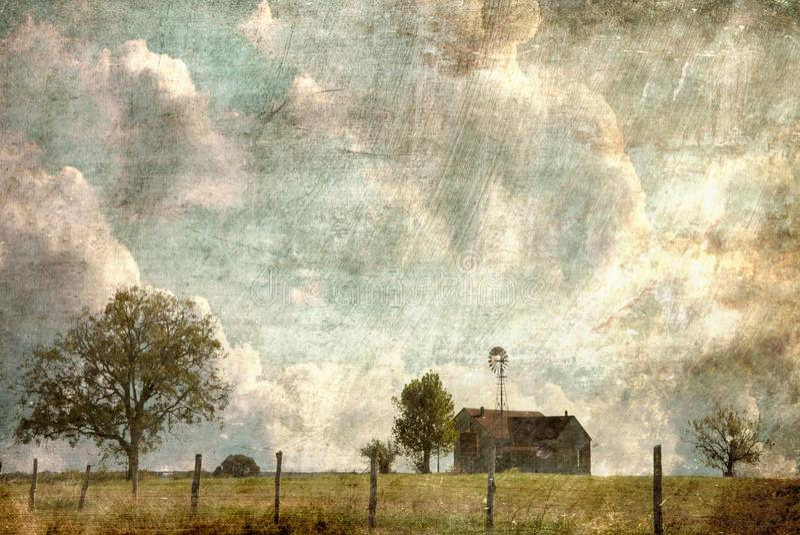 得克萨斯小山国家有铁丝网禁界线的农厂议院 向量例证