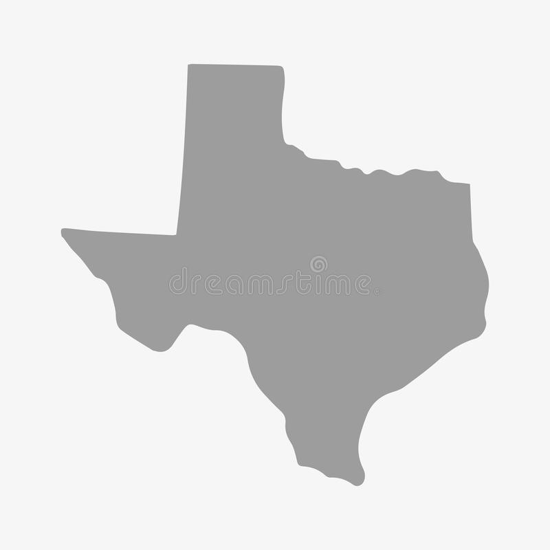 得克萨斯州在灰色的地图在白色背景 图库摄影
