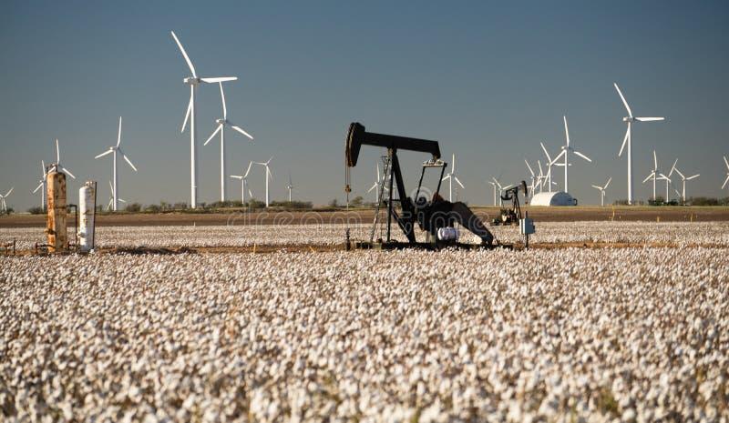 得克萨斯棉花被归档的纺织品农业石油工业PumpJack 库存照片