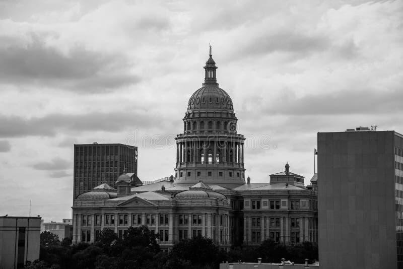 得克萨斯状态国会大厦大厦在奥斯汀,正面图 免版税库存图片